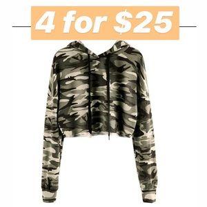 Camo cropped sweatshirt hoodie long sleeve